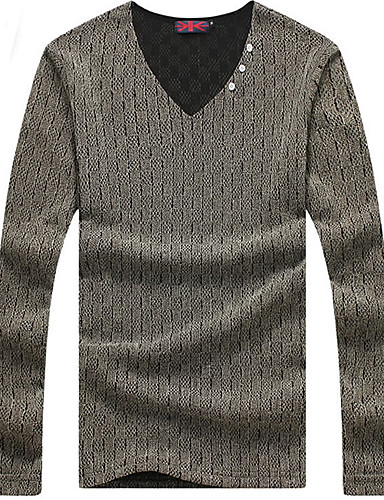 Men 39 S Solid Casual T Shirt Cotton Spandex Long Sleeve