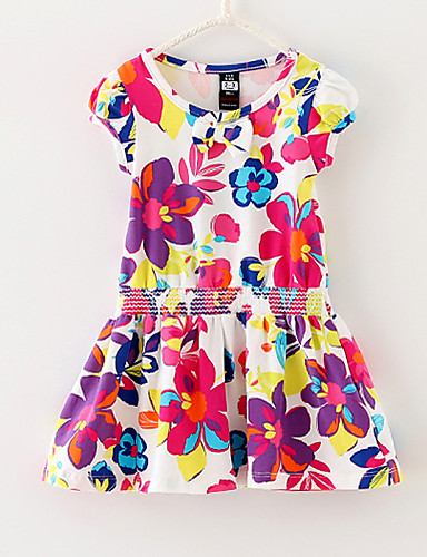 Buy Girls Flower Print 100% Cotton Sundress Party Holiday Cute Baby Children Clothes Dresses