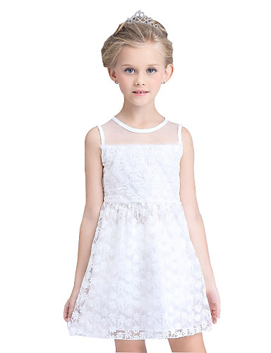 Buy Girl's Cotton Summer Lace Mesh Gauze Flowers Bubble Skirt Princess Formal Dress