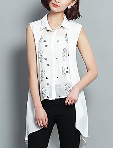 Women 39 S Print White Shirt Shirt Collar Sleeveless 5022020