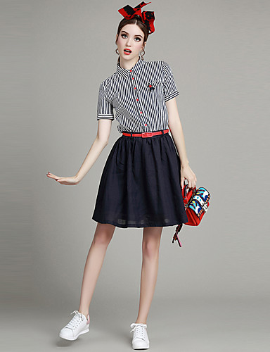 Buy Women's Going Street chic Line Dress,Striped Shirt Collar Mini Short Sleeve Blue Polyester Summer