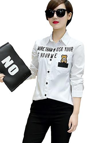 Buy Women's Going / Casual/Daily Street chic Seasons Blouse,Print Shirt Collar Long Sleeve White Cotton Thin