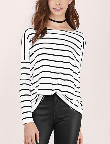 Buy Women's Casual / Simple Spring Fall Loose T-shirt,Striped Round Neck Batwing Sleeve Long White Cotton Medium