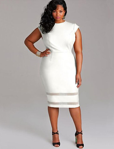 Women's Simple Patchwork Mesh Casual Slim Large Size Plus ...
