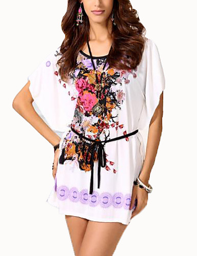 Buy Women's Casual/Daily Chinoiserie Summer T-shirt,Floral Round Neck Short Sleeve Blue / Red Purple Cotton Thin