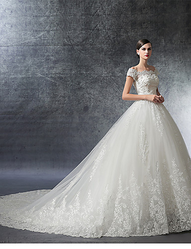 A line off the shoulder cathedral train satin wedding for Wedding dress shipping box