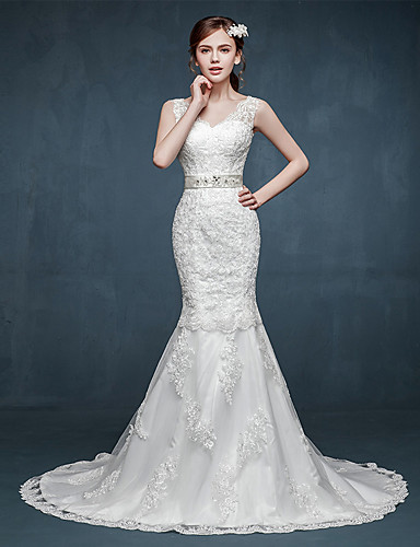 Trumpet Mermaid Wedding Dress Sweep Brush Train V Neck Tulle With Appliques Beading Sash