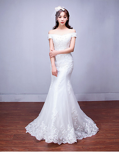Mermaid trumpet off the shoulder floor length tulle for Wedding dress shipping box