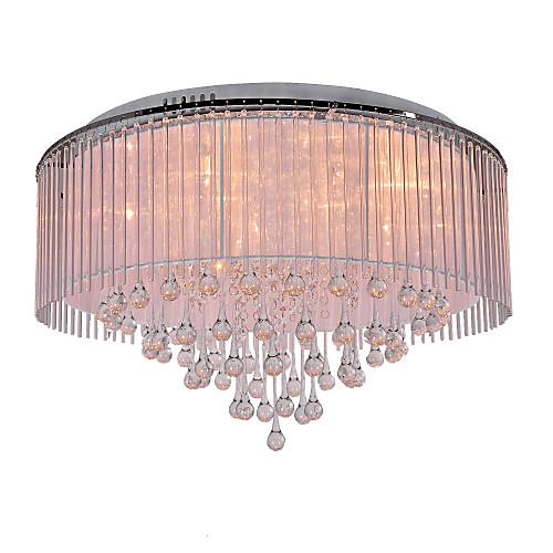 Lámpara chandelier moderna de cristal de tela con 8 bombillas ...