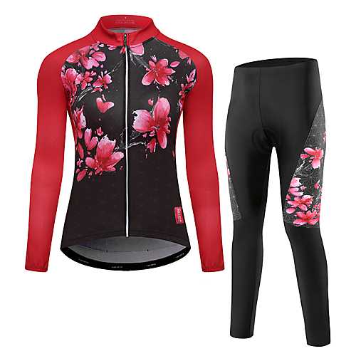 Women s Long Sleeve Cycling Jersey with Tights - Red Bike Clothing Suit fd54b047d