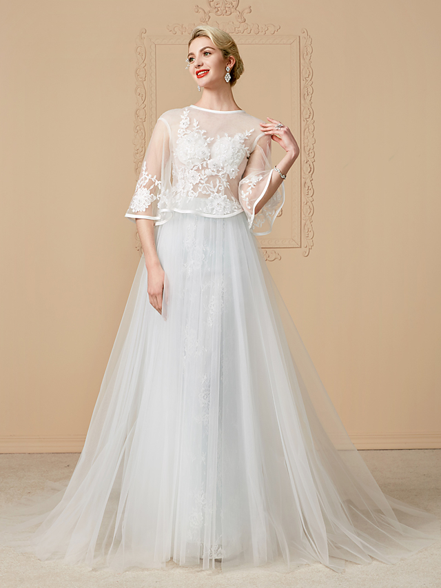 0622c6a8545 Ball Gown Jewel Neck Chapel Train Tulle Over Lace Made-To-Measure ...