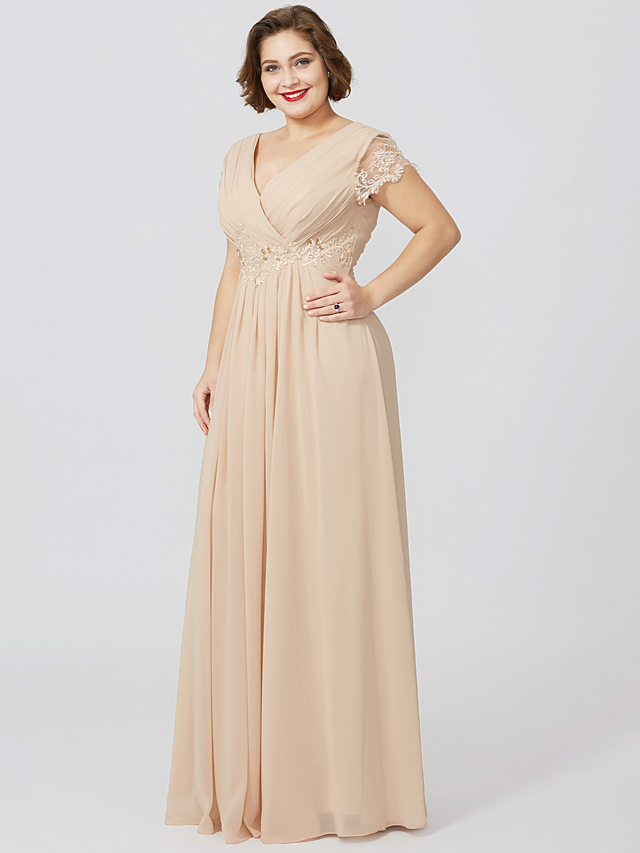 acb3bb6fa43 Sheath   Column V Neck Floor Length Jersey Mother of the Bride Dress with  Beading Appliques Pleats by LAN TING BRIDE®