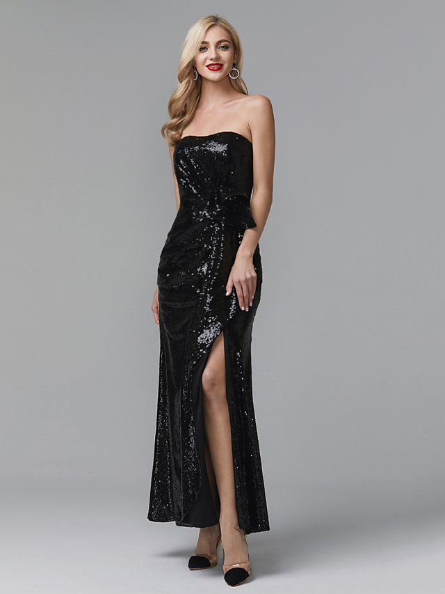93fe89239c3 Sheath   Column Strapless Ankle Length Sequined Celebrity Style Prom    Formal Evening Dress with Split Front   Pleats by TS Couture®