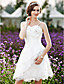 Lanting Bride® A-line / Princess Petite / Plus Sizes Wedding Dress - Chic & Modern / Reception Little White Dresses Knee-lengthSpaghetti