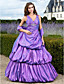 TS Couture Prom Formal Evening Quinceanera Sweet 16 Dress - Vintage Inspired A-line Ball Gown Princess V-neck Floor-length Taffeta with