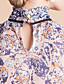TS Print Chiffon Stand Collar Ruffle Blouse Shirt
