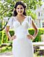 Lanting Sheath/Column Plus Sizes Wedding Dress - Ivory Sweep/Brush Train V-neck Lace