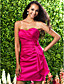 Lanting Short/Mini Taffeta Bridesmaid Dress - Fuchsia Plus Sizes / Petite Sheath/Column Sweetheart / Strapless