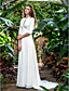 LAN TING BRIDE Sheath / Column Wedding Dress - Classic & Timeless Elegant & Luxurious Simply Sublime Court Train V-neck Georgette with
