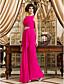 TS Couture Prom Formal Evening Military Ball Dress - Elegant Sheath / Column Bateau Floor-length Chiffon withBeading Crystal Detailing