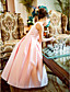 A-line Princess Floor-length Flower Girl Dress - Satin Jewel with Flower(s) Sash / Ribbon