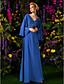 Lanting Bride® А-силуэт Большие размеры / Миниатюрный Платье для матери невесты В пол Длинный рукав Шифон - Бусины / Кристаллы / Оборки