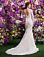 Lanting Bride® Русалка Для миниатюрных / Большие размеры Свадебное платье Со шлейфом средней длины V-образный вырез Кружева с