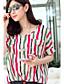 여성의 줄무늬 짧은 소매 셔츠,심플 / 스트리트 쉬크 캐쥬얼/데일리 레드 / 오렌지 면 / 폴리에스테르 / 그외 여름 중간