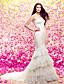 Lanting Bride® Русалка Для миниатюрных Свадебное платье Со шлейфом средней длины Сердцевидный вырез Кружева / Тюль с