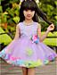 Γραμμή Α Μέχρι το γόνατο Φόρεμα για Κοριτσάκι Λουλουδιών - Τούλι / Πολυεστέρας Αμάνικο Με Κόσμημα με