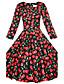 Mulheres Vestido Altura dos Joelhos Manga ¾ Decote Quadrado Em Cruz Mulheres