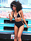 Mulheres Biquíni Cintura-Alta / Sólido Nadador Sem Aro / Com Bojo Poliéster Mulheres