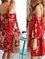Ženski Haljina Vjenčanje / Plaža Širok kroj Cvjetni print,Iznad koljena Spuštena ramena Poliester