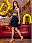 ts couture® prom φόρεμα συμβαλλόμενων μερών κοκτέιλ - δύο κομμάτια ένα-line ιμάντες σύντομο / μίνι σατέν / τούλι με beading
