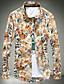 남성의 셔츠 프린트 긴 소매 캐쥬얼 / 작업/오피스 면 / 아크릴 / 폴리에스테르 블랙 / 블루 / 오렌지 / 핑크 / 레드 / 화이트 / 옐로