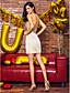 TS Couture Cocktailparty Schoolbal Jurk - Celebrity-Stijl Strak/kolom Hartvormig Kort / Mini Satijn Pailletten metKralen Sjerp / Lint