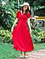 Damen Hülle Kleid-Urlaub Street Schick Solide V-Ausschnitt Maxi Kurzarm Rot Baumwolle Sommer Mittlere Hüfthöhe Mikro-elastisch