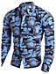 Chemise Pour des hommes Camouflage Décontracté Coton / Polyester Manches longues Bleu / Beige