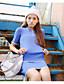 Kortærmet Krave Medium Kvinders Blå Ensfarvet Sommer Simpel Casual/hverdag Sæt,Bomuld