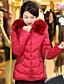 Dame Normal Polstret Langermet Frakk,Enkel Fritid/hverdag Plusstørrelser Ensfarget-Polyester Polyester Med hette Rød Sort Grå Grønn