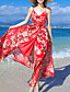 Damen Hülle Kleid-Strand Sexy Blumen V-Ausschnitt Maxi Ärmellos Rot Polyester Sommer