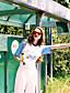 Nais- ½ hiha Ohut Pyöreä kaula-aukko Puuvilla Kesä Vintage Rento/arki T-paita,Painettu Valkoinen / Keltainen