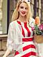 1/2 ærmelængde Rund hals Tynd Kvinders Hvid Ensfarvet Efterår Sødt I-byen-tøj Cloak / Capes,Polyester / Spandex