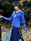 Langærmet Rund hals Medium Kvinders Sort Paisley Forår / Efterår Vintage I-byen-tøj T-shirt,Bomuld / Spandex