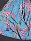 Dame Sødt I-byen-tøj A-linje Kjole Trykt mønster,Med stropper Midi Uden ærmer Blå Polyester Sommer Alm. taljede Uelastisk Medium