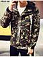 男性 カジュアル/普段着 秋 カモフラージュ ジャケット,シンプル シャツカラー グリーン コットン 長袖 薄手