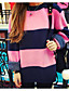 Normal Pullover Fritid/hverdag Enkel Dame,Stripet Rosa / Gul Rund hals Langermet Annet Vinter Medium Mikroelastisk