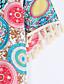 Polyester Rosa / Gul Medium Kortermet,Rund hals Sett Trykt mønster Sommer Gatemote Fritid/hverdag Kvinner