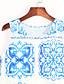 Vintage / Gatemote Skjede Trykt mønster Dress Kvinner Mini Rund hals Polyester