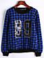 Damen Hoodies Lässig/Alltäglich Retro Verziert Blau Polyester